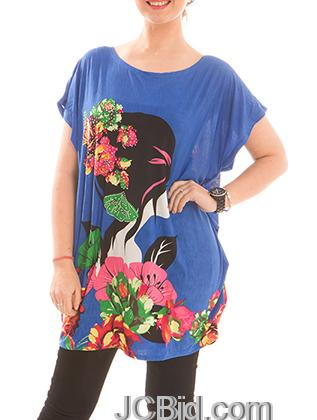 JCBid.com Loose-Top-with-Flower-and-Butterfly-Print-Royal