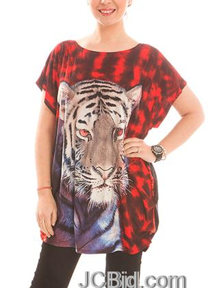 JCBid.com Loose-Top-with-Tiger-Print-Red