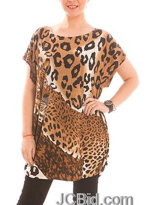 JCBid.com Loose-Top-with-Leopard-Print-Brown
