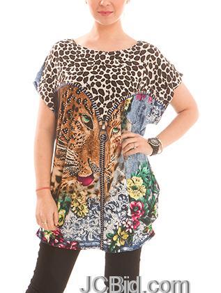 JCBid.com Loose-Top-with-Cheetah-Print-Grey