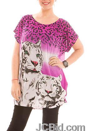 JCBid.com Loose-Top-with-White-Tiger-Print-Purple