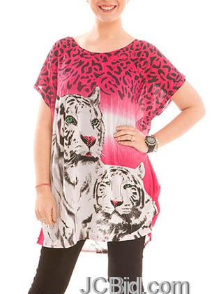 JCBid.com Loose-Top-with-White-Tiger-Print-Red