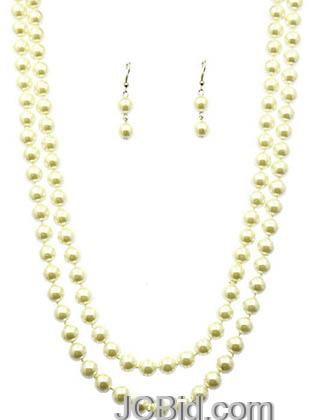 JCBid.com Butter-Colored-58-Long-Pearl-Necklace-set