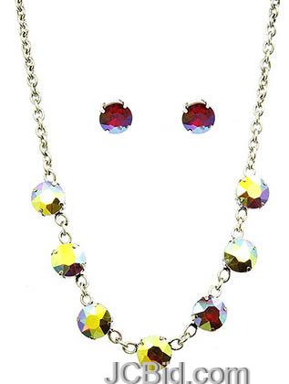 JCBid.com Faceted-Stone-Necklace-and-Earring-set-whitered
