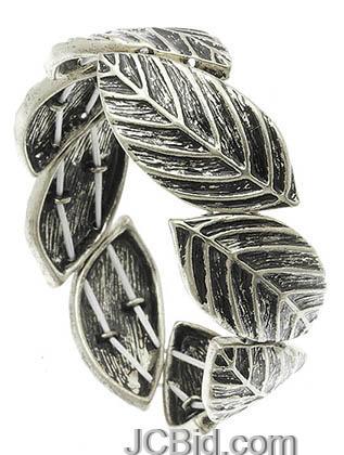 JCBid.com Antique-Silver-Metal-Leaf-Bracelet