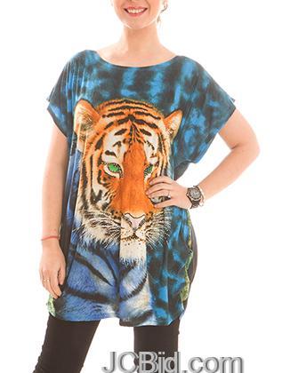 JCBid.com Loose-Top-with-Tiger-Print-Blue