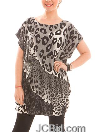 JCBid.com Loose-Top-with-Leopard-Print-Chocolate