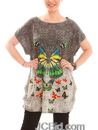 JCBid.com Loose-Top-with-Butterfly-Print-Brown