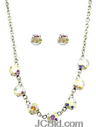 JCBid.com Faceted-Stone-Necklace-and-Earring-set-WhiteMulti