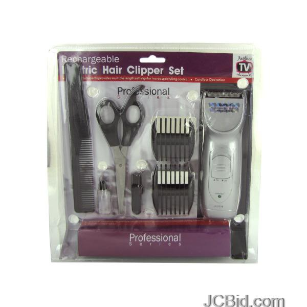 JCBid.com Rechargeable-Hair-Clipper-Set-with-Accessories-display-Case-of-12-pieces