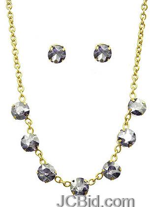 JCBid.com Faceted-Stone-Necklace-and-Earring-set-White