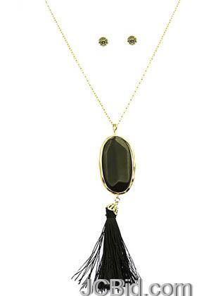 JCBid.com Natural-Stone-Tassel-Necklace-Black