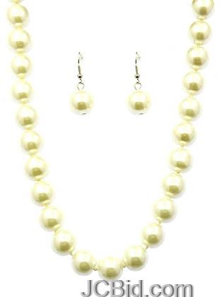 JCBid.com Butter-Colored-16-Long-Pearl-Necklace-set