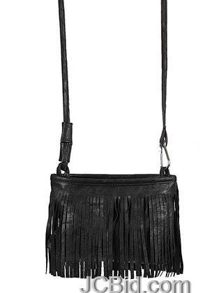 JCBid.com Black-Cross-Body-Fringe-Bag
