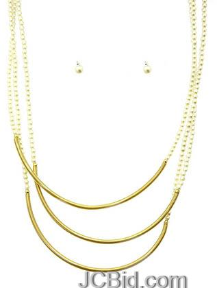 JCBid.com 3-layer-Chain-necklace-Gold-tone