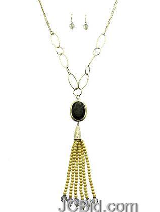 JCBid.com Faceted-Stone-Tassel-Necklace-Black