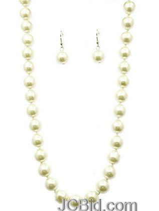 JCBid.com Cream-Colored-22-Long-Pearl-Necklace-set