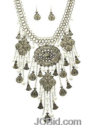 JCBid.com Chunky-Bib-Style-necklace-set-Silver-Tone
