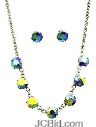 JCBid.com Faceted-Stone-Necklace-and-Earring-set-Bluish-Yellow