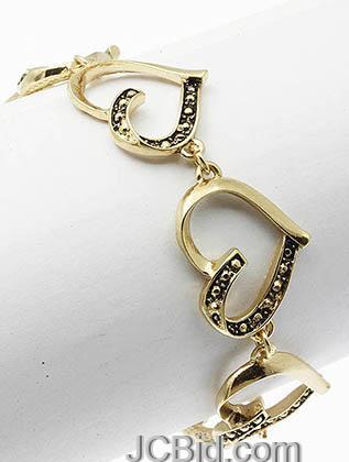 JCBid.com Heart-Bracelet-Golden-Color