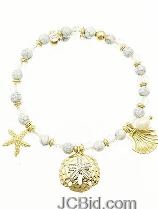 JCBid.com White-Starfish-shell-crystal-bracelet