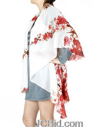 JCBid.com Floral-print-Cap-Collar-Poncho