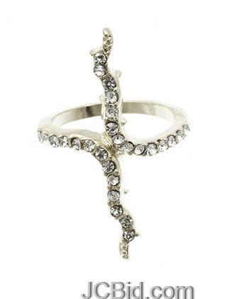 JCBid.com Branch-shaped-ring-in-Silver-tone