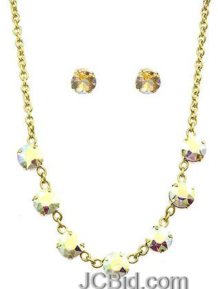 JCBid.com Faceted-Stone-Necklace-and-Earring-set-ivoryred
