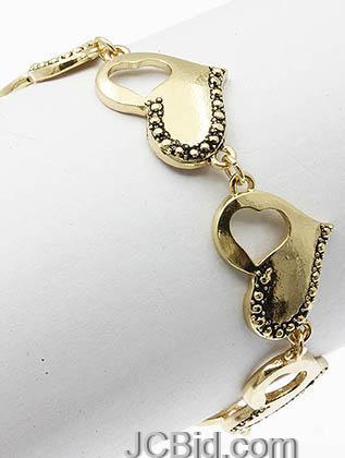 JCBid.com Heart-Bracelet-Golden