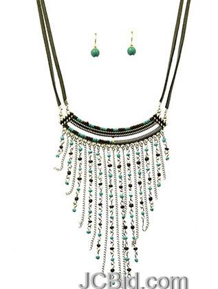 JCBid.com Suede-cord-and-Seed-bead-necklace-set-Blue