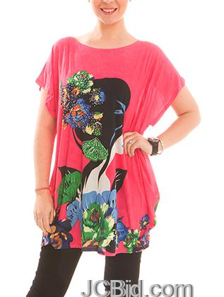 JCBid.com Loose-Top-with-Flower-and-Butterfly-Print-Hot-Pink