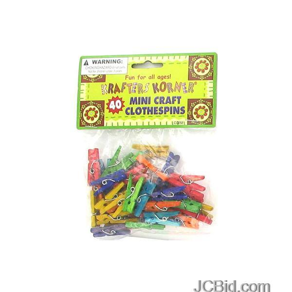 JCBid.com Miniature-Colored-Craft-Clothespins-display-Case-of-84-pieces