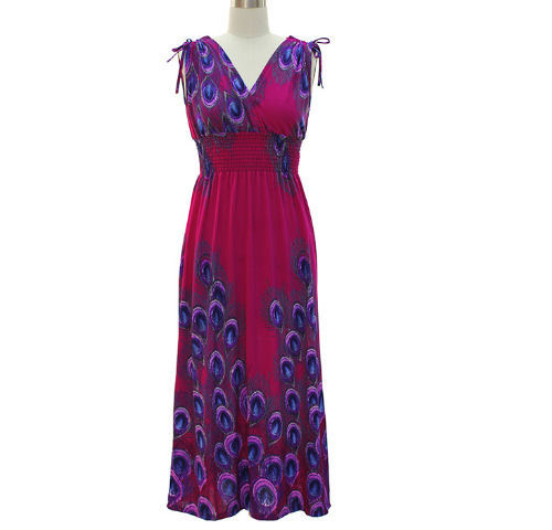 JCBid.com Peacock-Print-Smocked-Maxi-Dress-1X-to-3X-Sizes