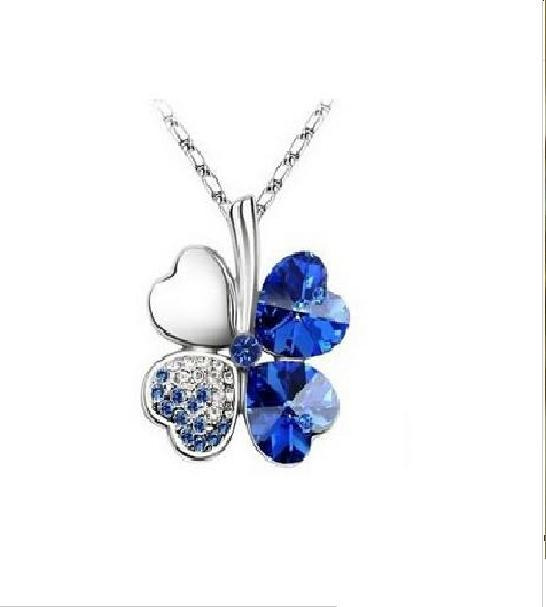 JCBid.com Green-or-Blue-Clover-crystal-pendant-necklace