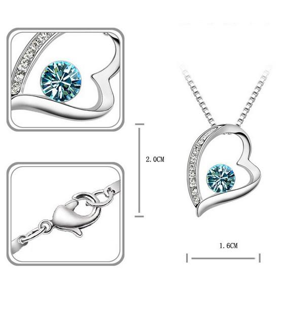 JCBid.com Blue-or-Red-Crystal-White-Gold-Plated-Heart-Pendant
